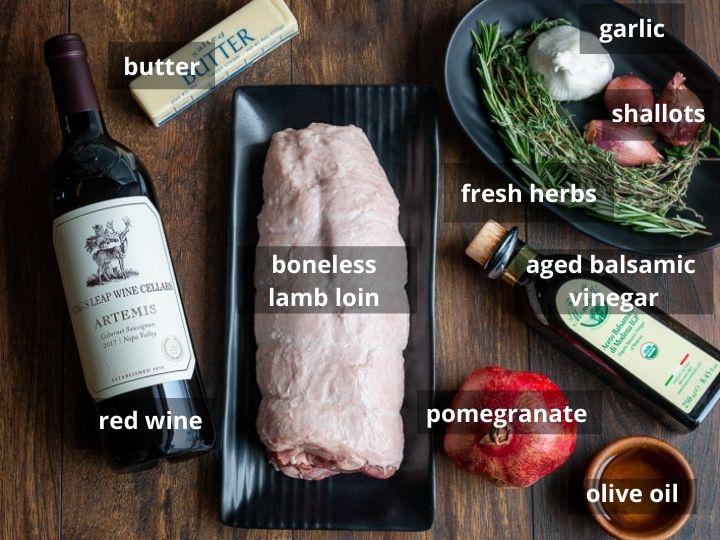 Ingredients to make lamb loin roast recipe.
