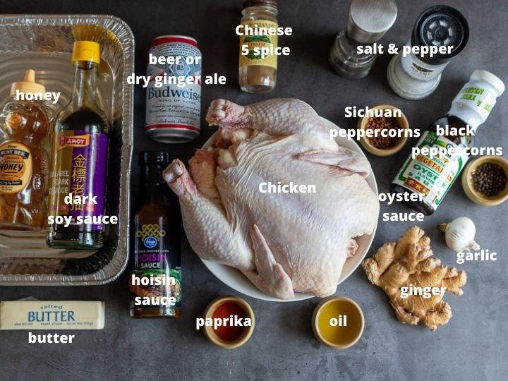 Ingredients used to make Peking chicken.