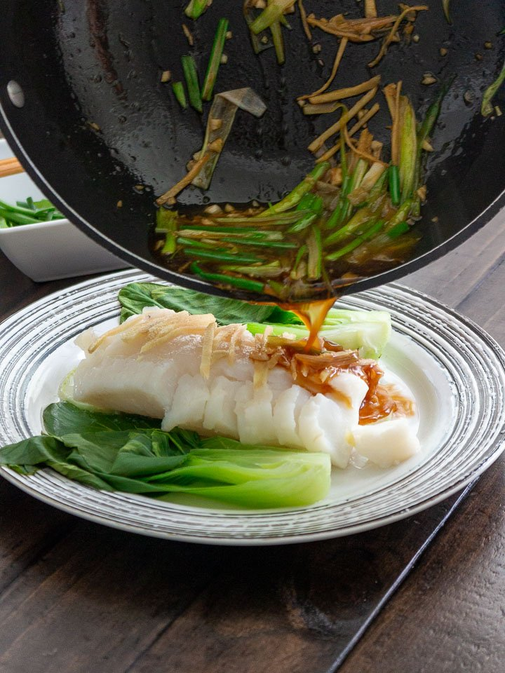 Asian Sauce poured over the steamed fish.