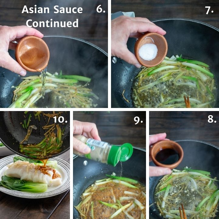 Steps 6 through 10 for making Asian steamed fish.