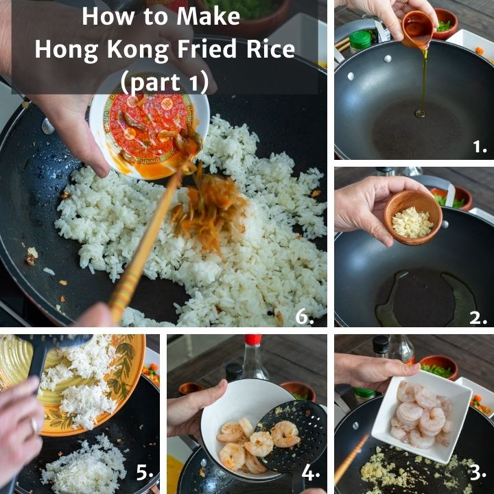 Step by step showing how to add the rice and cook the shrinp.