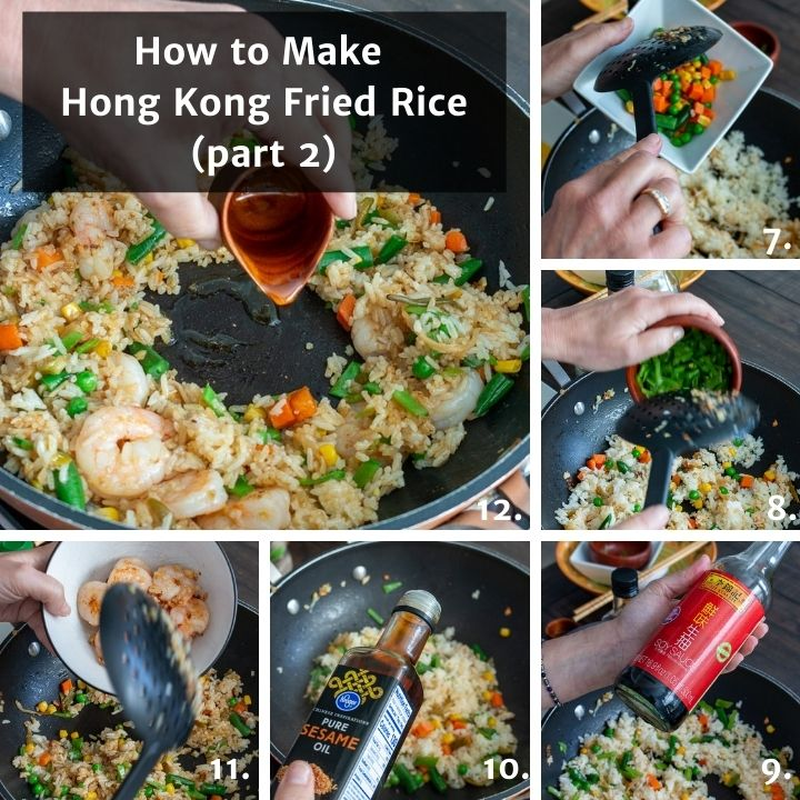 Step by step on how to add the vegetables and the seasonings to the wok.