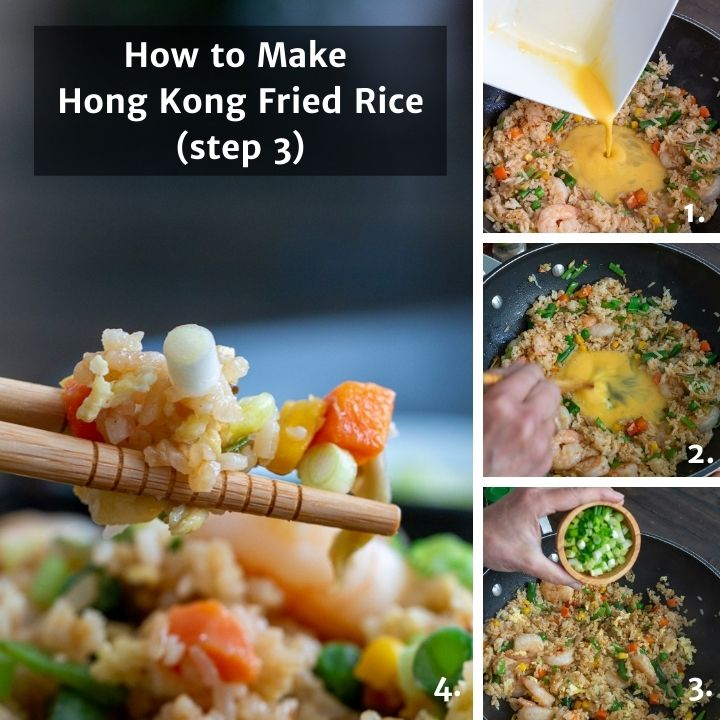 Step by step showing how to make the well and add the egg to fried rice.