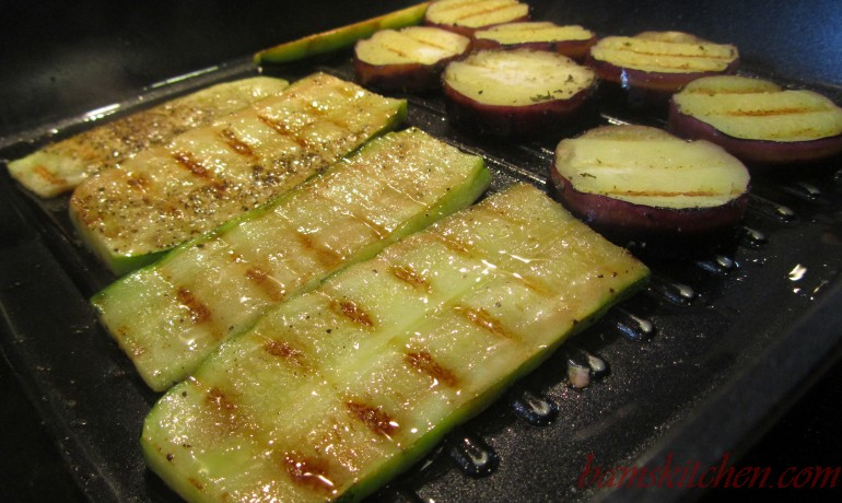 Grilling veggies on the grill