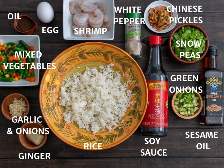 List of ingredients for Cantonese fried rice.