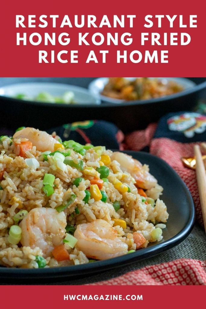 Make resturant style Cantonese fried rice at home with a photo of shrimp fried rice in a black bowl.