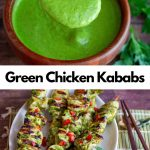 Top photo of Magic Green Marinade and bottom of the grilled green chicken kabab.