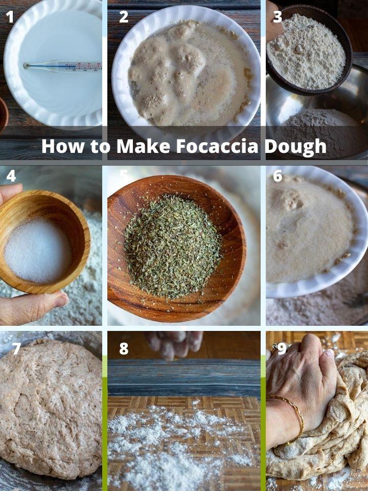 Step by step how to make focaccia dough.