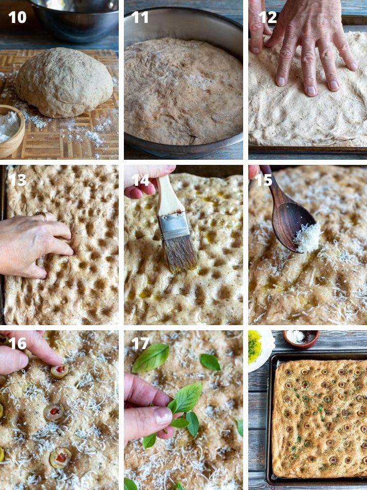 Step by Step how to decorate focaccia bread and bake it.'