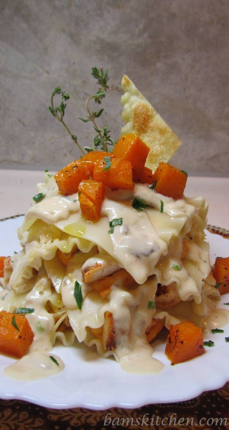 Topless Butternut Ravioli with Sauteed chicken and a creamy wild mushroom sauce