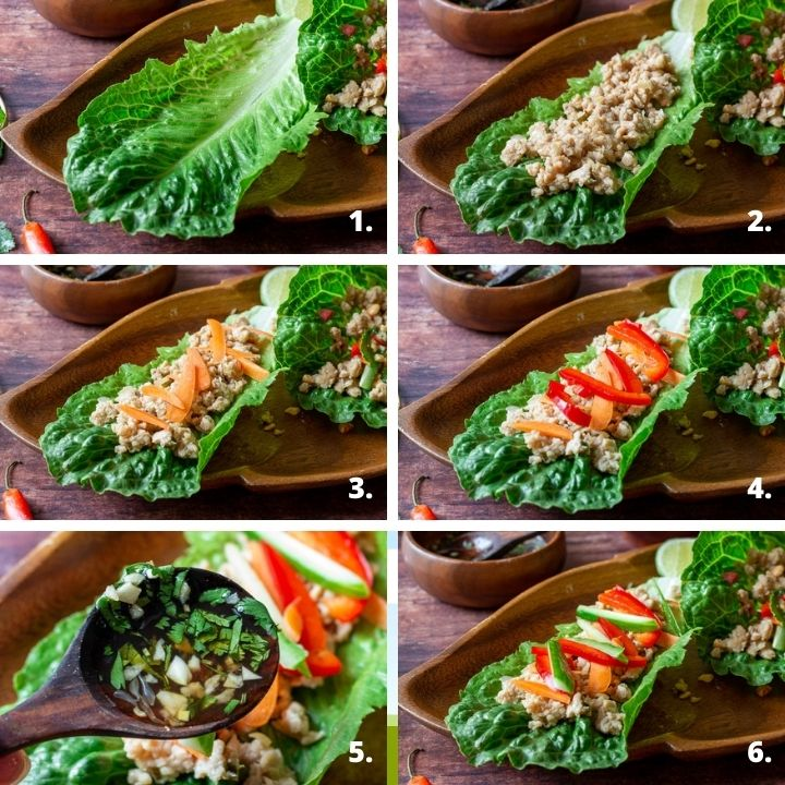 Step by step How to make lettuce wraps.