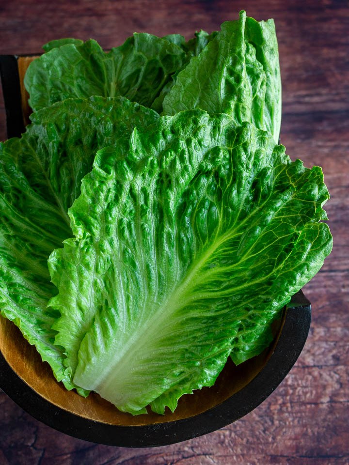 Washed, cut and prepared Romaine lettuce leaves.