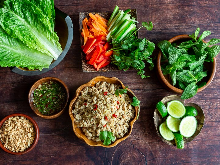 Displaying all of the lettuce wrap ingredients on a table ready to be served for guests to make their own.