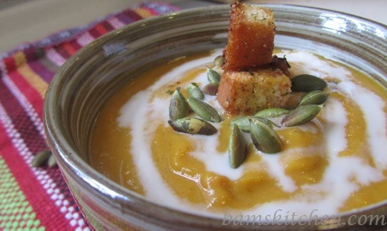 Roasted Butternut and Carrot ginger soup