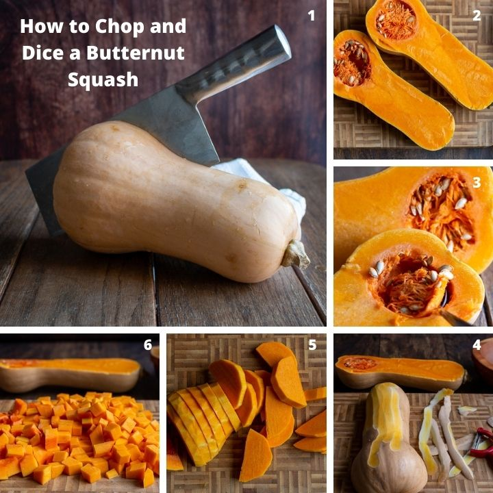 Step by Step how to cut and dice a butternut squash.