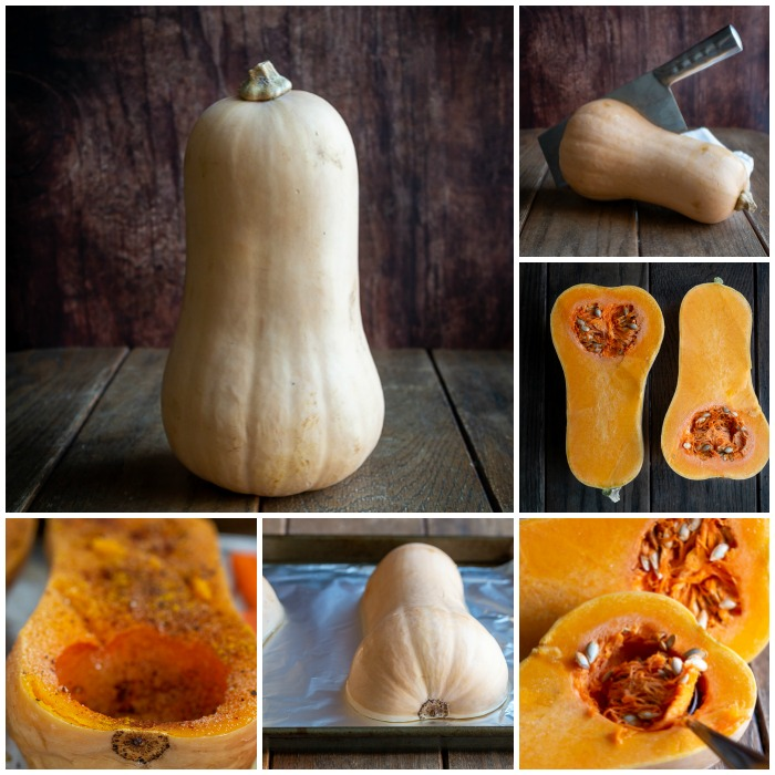Step by Step, how to prepare a butternut squash for roasting.