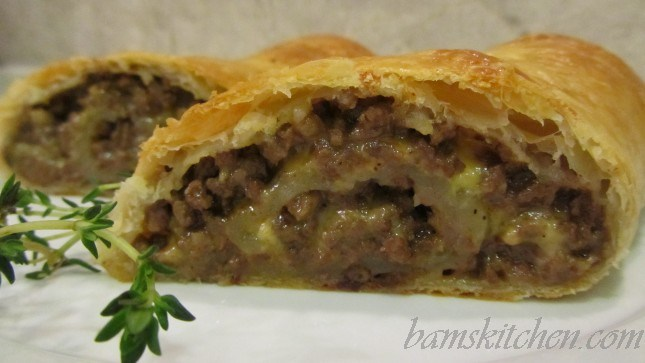 Beef and Cheddar Puff pastry