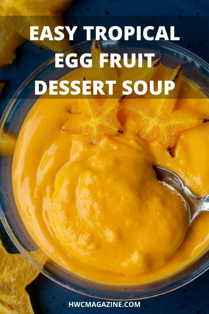 Tropical egg fruit dessert soup step by step photos.