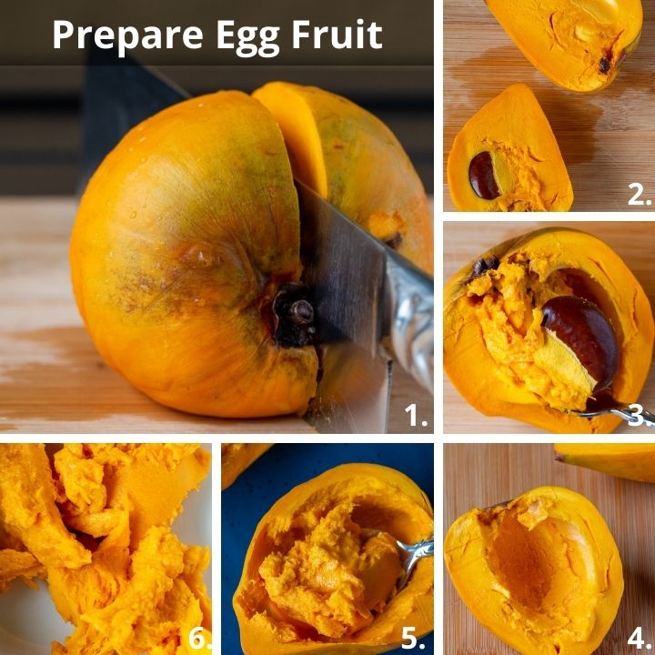 How to prepare fresh yellow sapote with step by step photos showing removing the pits and scooping out the flesh.