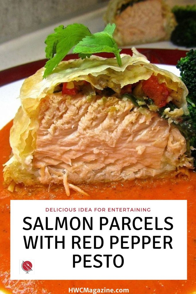 Salmon Parcels with Sweet Red Pepper Pesto / https://www.hwcmagazine.com