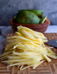 Julienned green mango