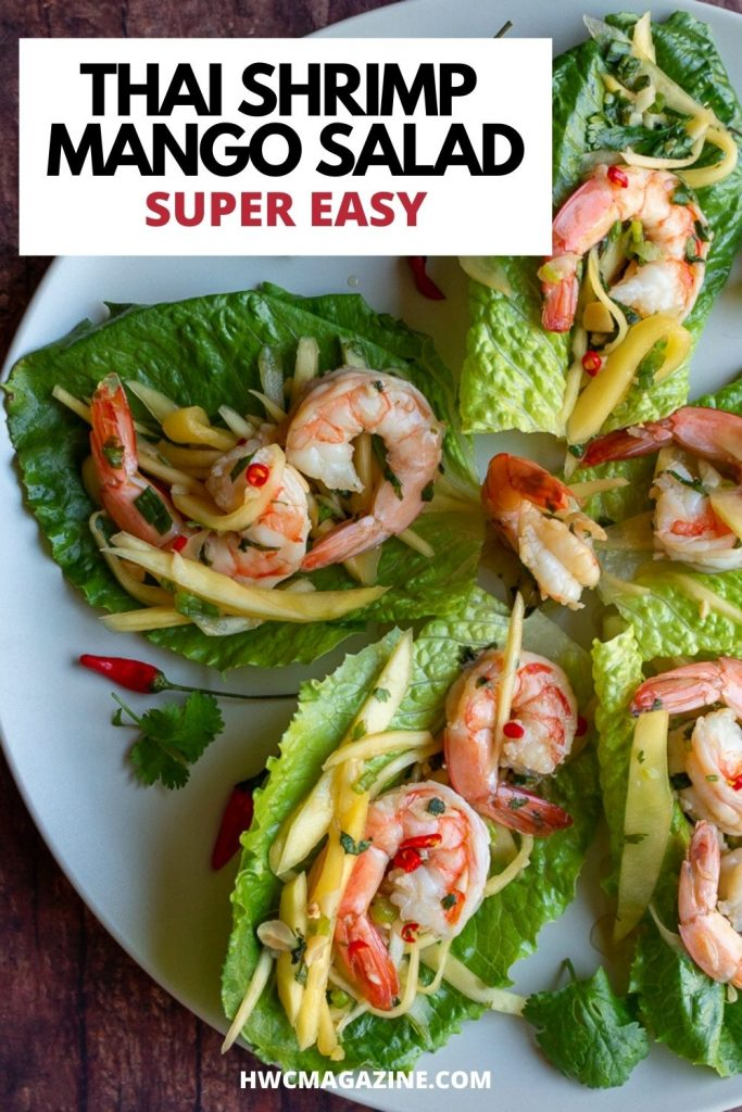 Thai Spicy Shrimp Mango salad in lettuce cups.