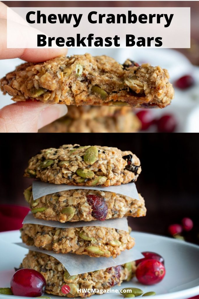 top photo has someone holding a breakfast cookies with a huge chewy bite out of it. The second photo on the bottom has 4 breakfast cookies stacked on top of each other.