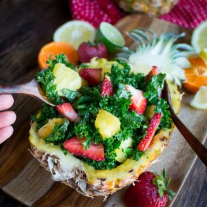 Tutti Fruitti Kale Salad with Citrus Honey Dressing / https://www.hwcmagazine.com