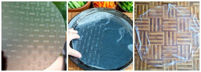 Step by Step showing a dried rice wrapper, then soaking in water and then pliable and ready for use.