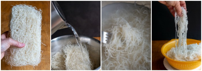 Step by step photos: Dry Noodles, noodles getting poured with boiling water, noodles steeping in hot water.