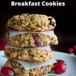 4 Cranberry Oatmeal Breakfast Cookies stacked on top of each other with parchment paper between each and extra cranberries on side on a white flat dish.