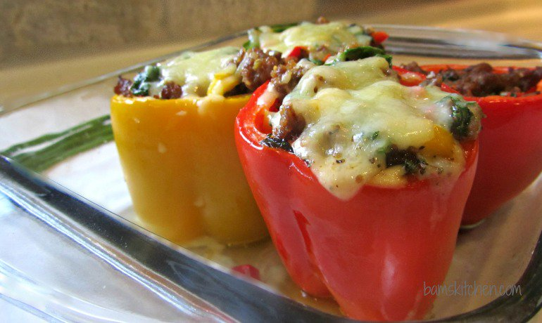 Cheesy Stuffed Peppers with rocket_IMG_8722
