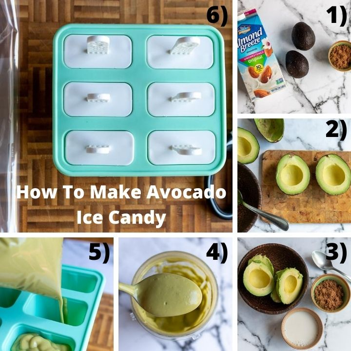 How to make avocado ice candy, step by step.