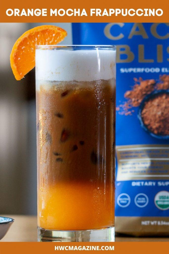 Iced 3 layered coffee and orange juice drink.