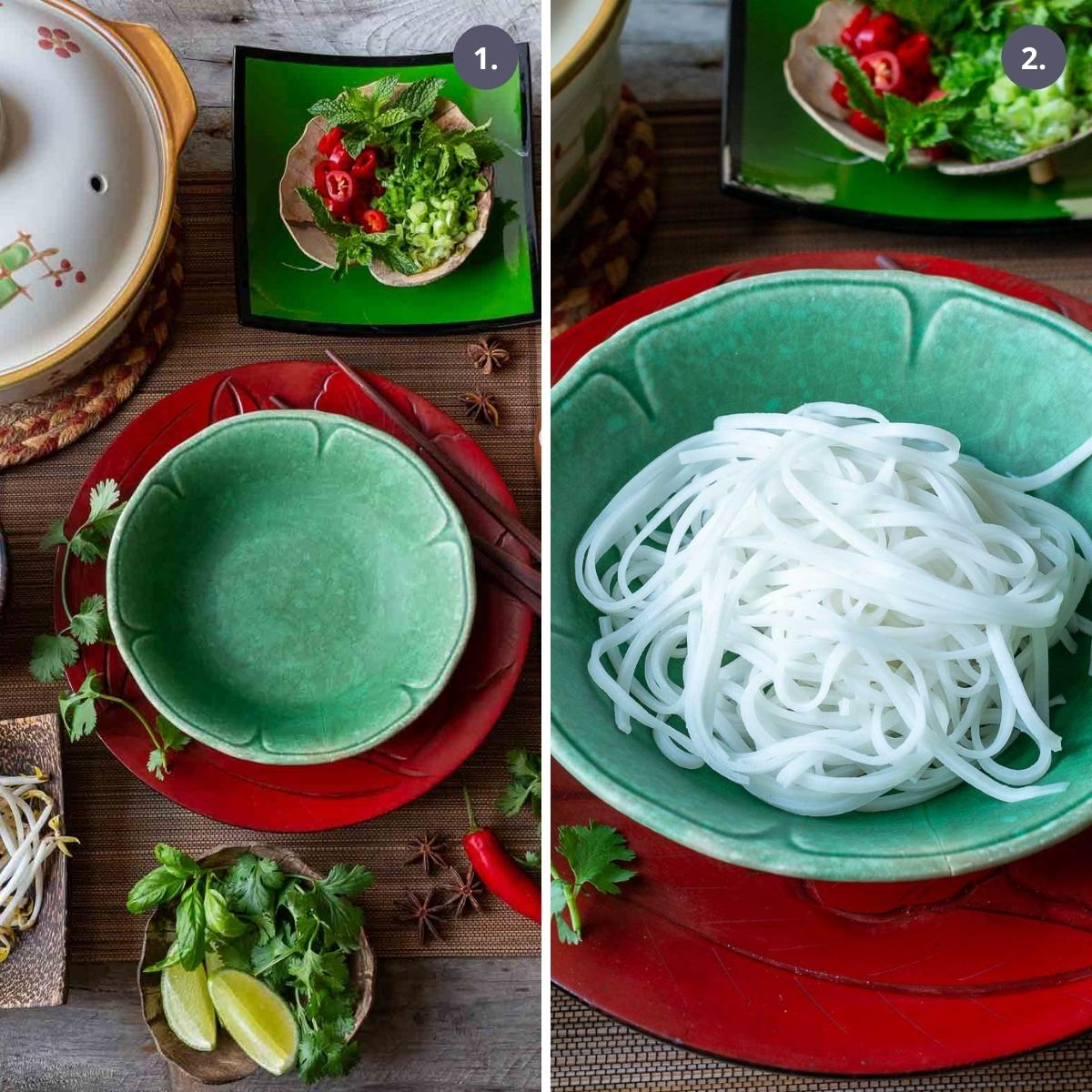 All pho bo ingredients to garnish around a bowl of cooked rice noodles.