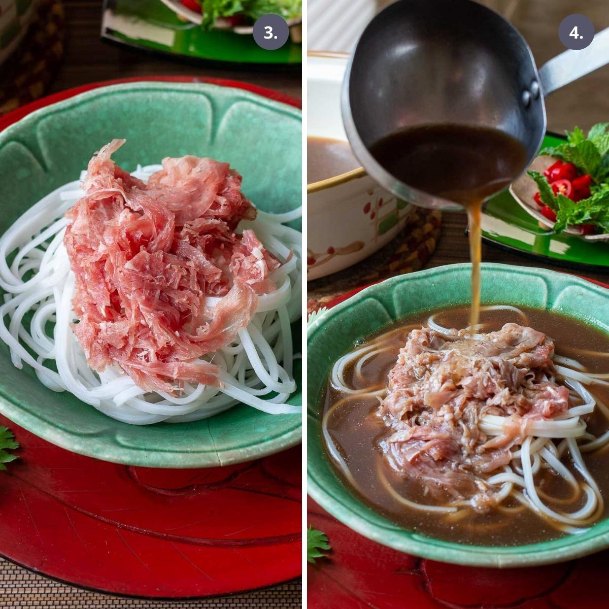 Chipped beef over noodles and beef pho broth poured over beef and noodles.