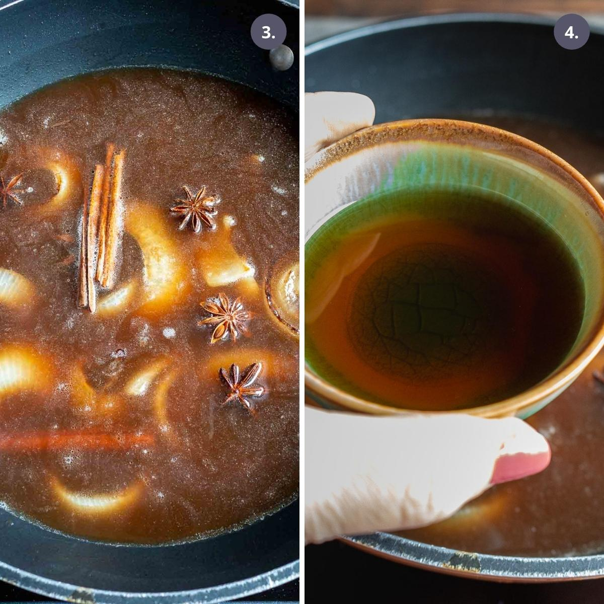 Beef stock, dried spices and fish sauce added to soup.