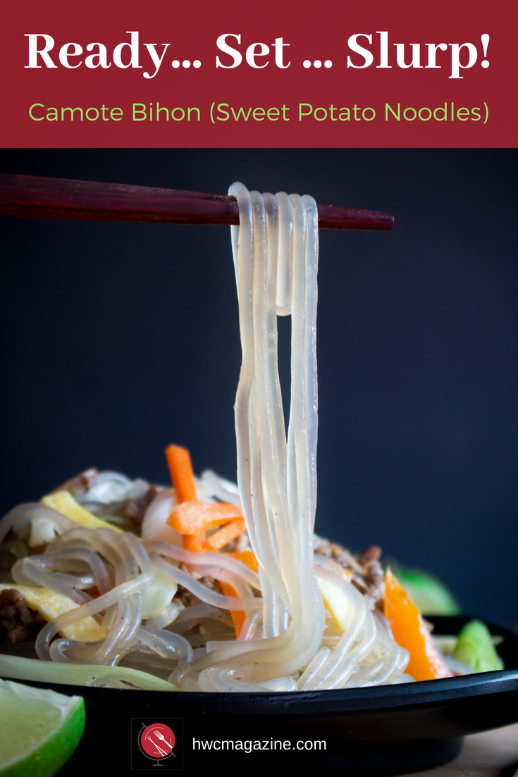 Camote Bihon Sweet Potato Noodles is an EASY delicious recipe from the Philippines. Great for Work and School Lunches. #noodleswithoutborders #hwcmagazine #noodles #asian #bihon #sweetpotatonoodles / https://www.hwcmagazine.com