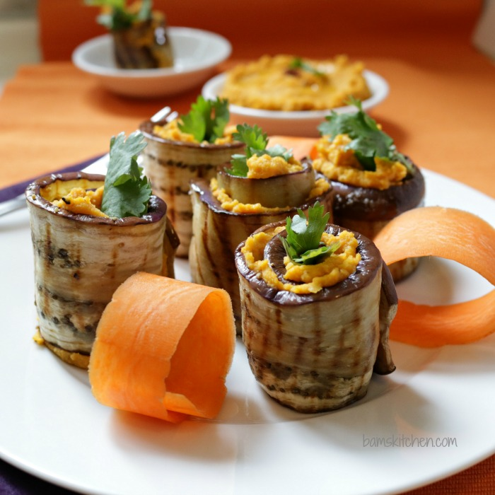 Roasted Carrot Spiced Hummus Rolls-Healthy World Cuisine
