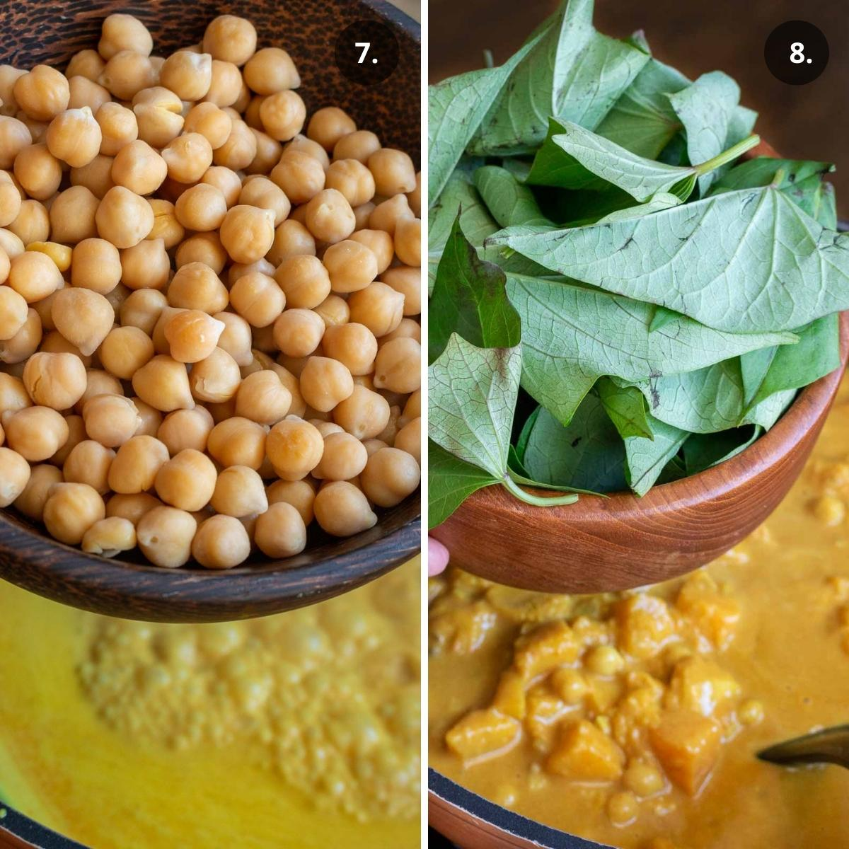 Adding in chickpeas and greens to coconut curry.