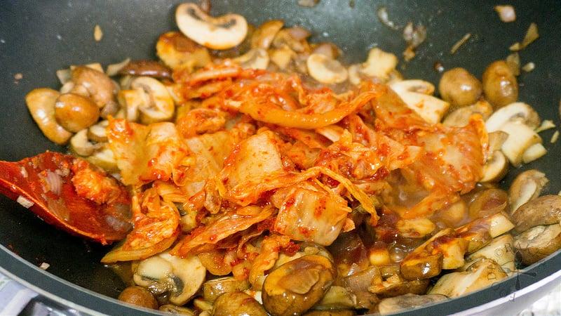 add in the kimchi
