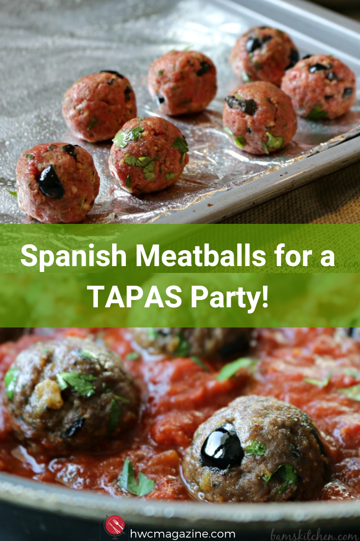 Spanish Meatballs with Pepper and Tomato Wine Sauce are the perfect addition for a Tapas Party. Tasty hot appetizer in under 30 minutes. #appetizer #spanish #started #meatballs #wine #party #gathering #party ideas / https://www.hwcmagazine.com