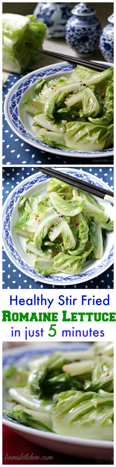 Healthy Stir Fried Romaine Lettuce / Bam's Kitchen/ httpbamskitchen.com