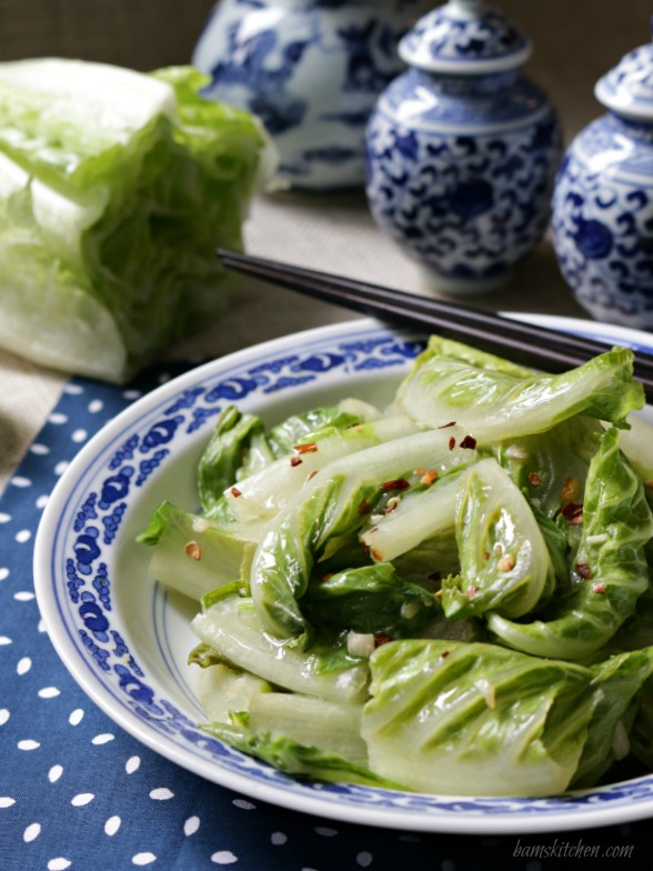 Stir Fried Romaine Lettuce / Bam's Kitchen/ http://bamskitchen.com