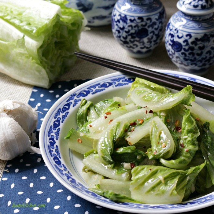 Stir Fried Romaine Lettuce/ Bam's Kitchen / http://bamskitchen.com