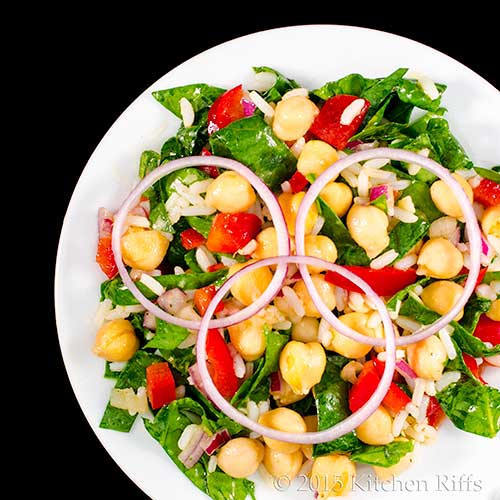 Chickpea, Rice and Spinach Salad / Kitchen Riffs