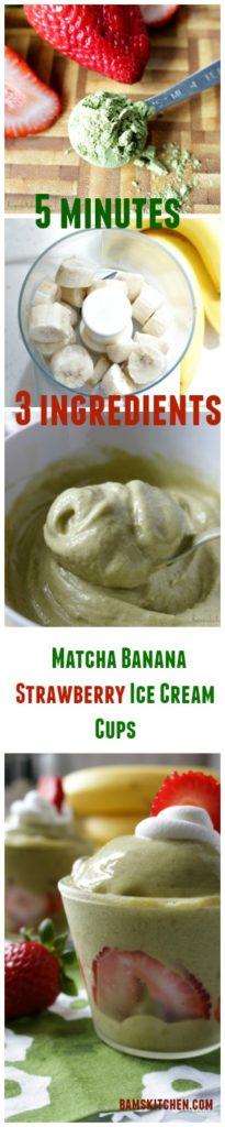 Matcha Banana Strawberry Ice Cream Cups / https://www.hwcmagazine.com