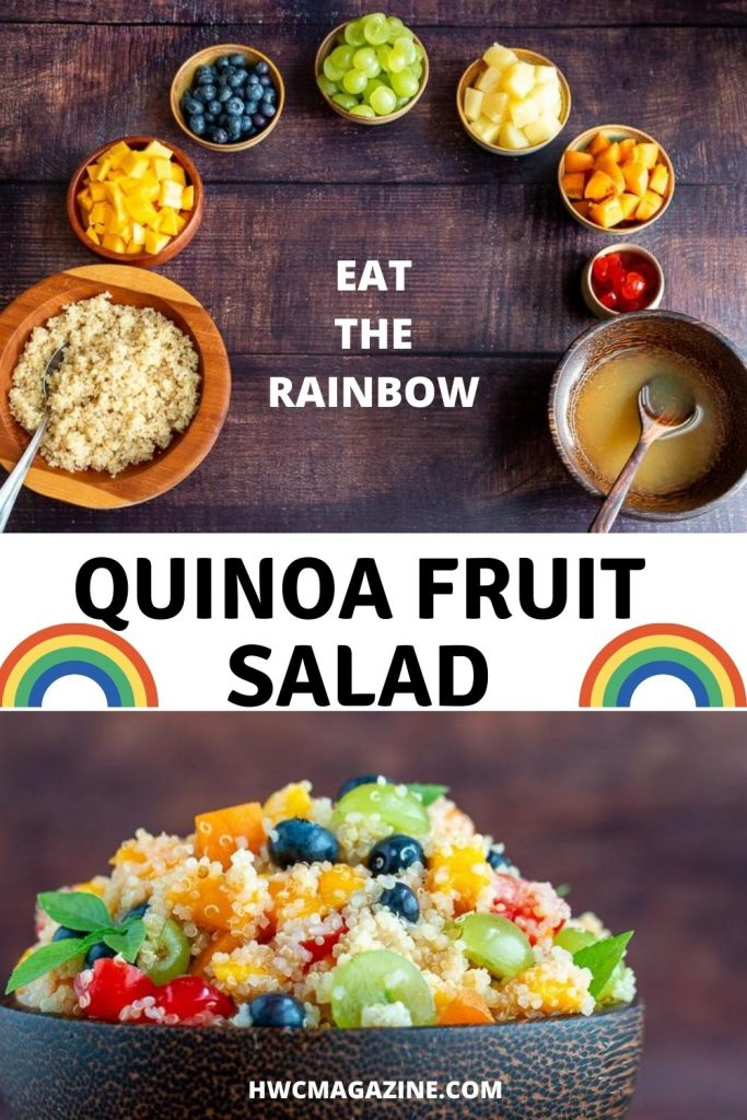 Ingredient of a quinoa fruit salad laid out in the shape of a rainbow.
