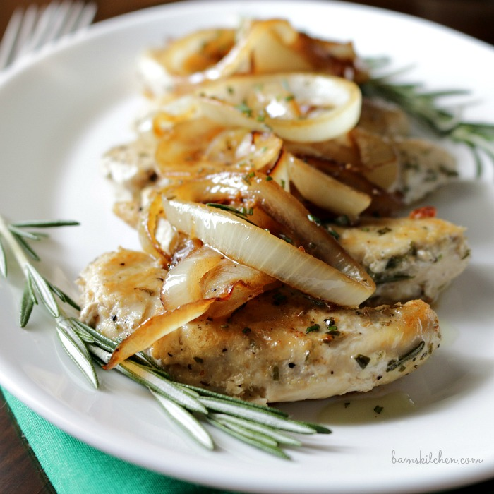 Rosemary Chicken with Sautéed Onion Sauce / http://bamskitchen.com