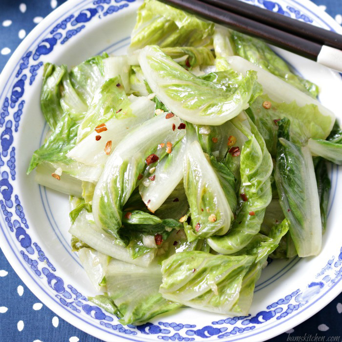 Stir Fried Romaine Lettuce / http://bamskitchen.com